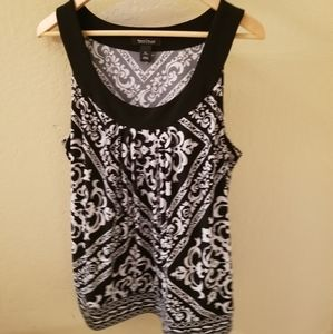 WHBM Sleeveless Black and White Blouse XL